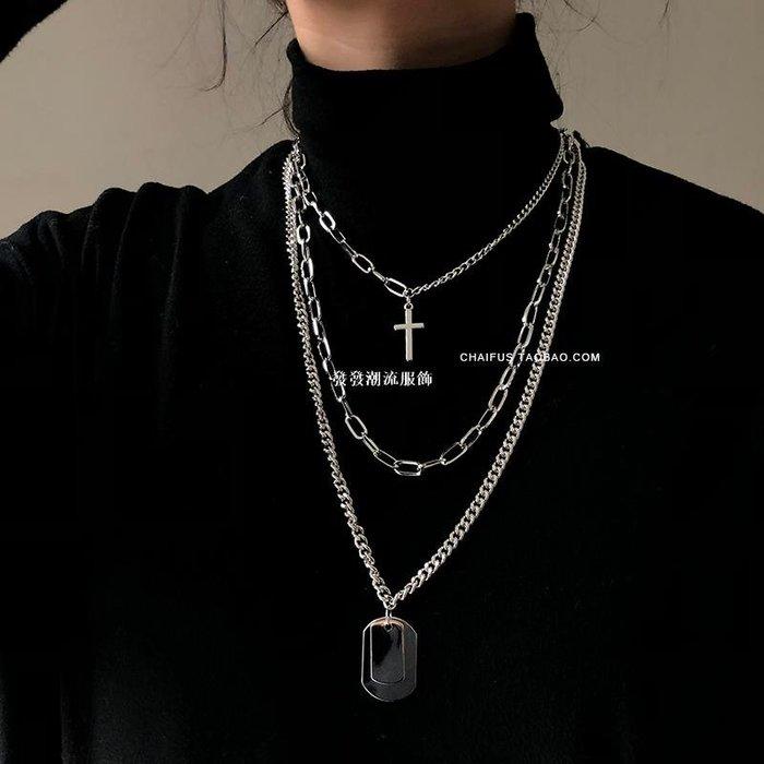發發潮流服飾阿柴  X61 ins冷淡風歐美個性嘻哈男女情侶多層十字架項鍊毛衣鍊