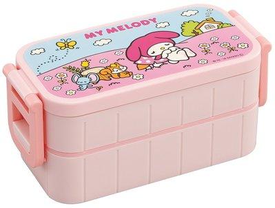 (訂貨)日本製 聚丙烯 總容量約600ml 兩側開合 長方型 雙層餐盒 連筷子 Sanrio My Melody 美樂蒂 日本直送 全新品