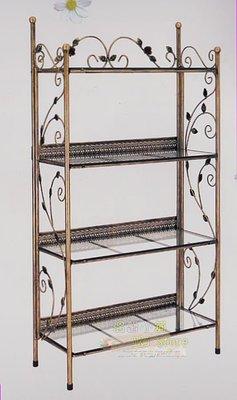 玫瑰花鍛鐵四層置物架 四層展示架 收納架 玻璃置物架 (附4片5mm強化玻璃)