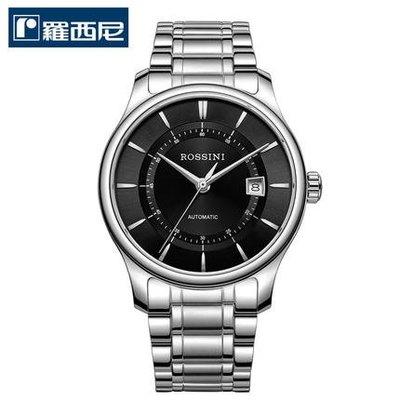 窩美ROSSINI新款簡約休閒風純黑精鋼男士手錶616725