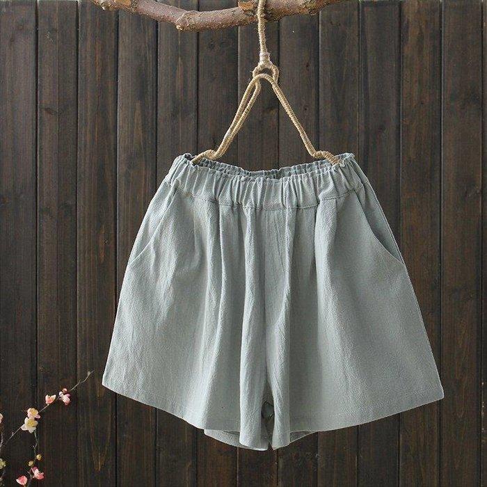 BELOCO 大呎碼 夏季新款200斤大碼簡約文藝松緊腰棉麻橡筋腰闊腿純色短褲女BE655