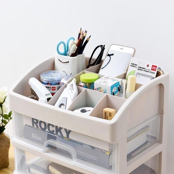 【全館免運】抽屜式透明化妝品收納盒塑料桌面整理盒梳妝台護膚品置物架 【奇妙城】