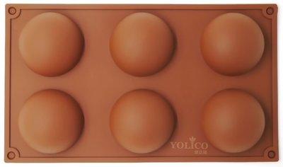 【悠立固】Y30 六孔 大圓形矽膠模具水信玄餅 巧克力蛋糕模具 烘焙工具 手工皂模具 冰格 布丁果凍模 翻糖模 食品...