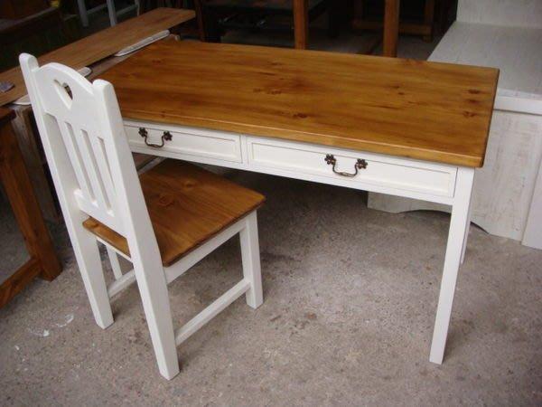 原木工坊~ MIT台灣製造  原木家具首選品牌   雙色風書桌椅組