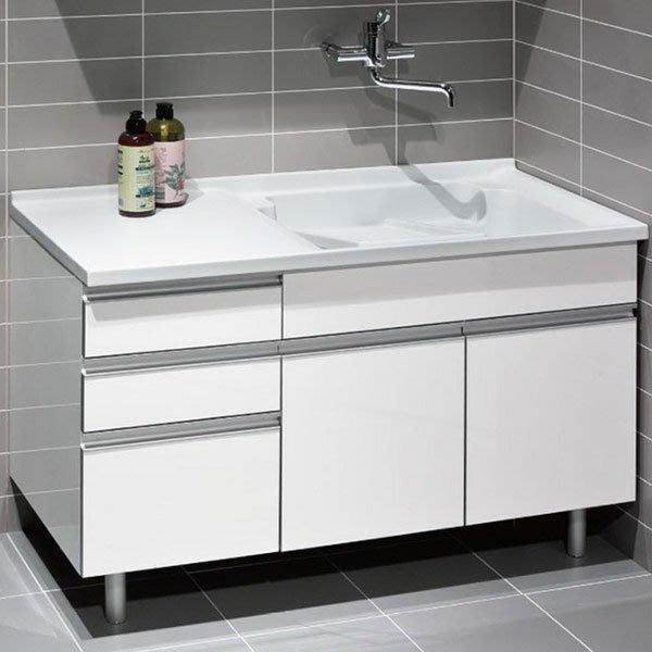《101衛浴精品》台灣製造 100%全防水 一體成型 人造石 洗衣槽浴櫃組 120CM【免運】