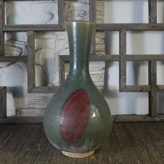 百寶軒 仿古瓷器接老底復古做舊宋鈞窯風格天藍釉膽瓶花瓶古董古玩 ZK1430