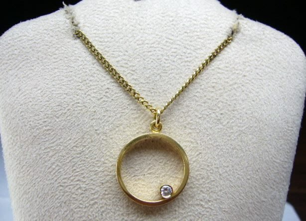 [吉宏精品交流中心]GEORG JENSEN 喬治傑生 GJ 18黃K金 750 鑽石 項鍊