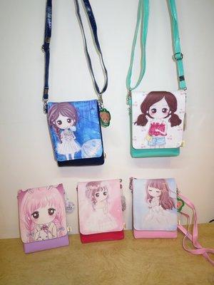 可愛娃娃  ~ 韓國風娃娃圖案翻蓋式拉鍊手機包~側背包~斜背包~零錢包~PU皮5款~~~約17公分