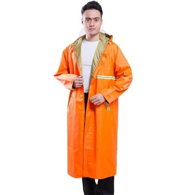 夜光路政長款連身大褂雨衣環衛反光保潔服成人男加厚加大巡邏雨披