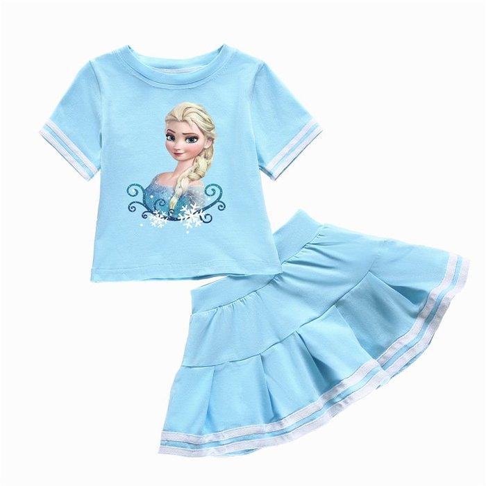•*~ 辣媽咪衣飾小舖 ~*•❤童裝系列❤K950252韓版兒童夏款冰雪奇緣艾莎公主短袖上衣+短裙二件套