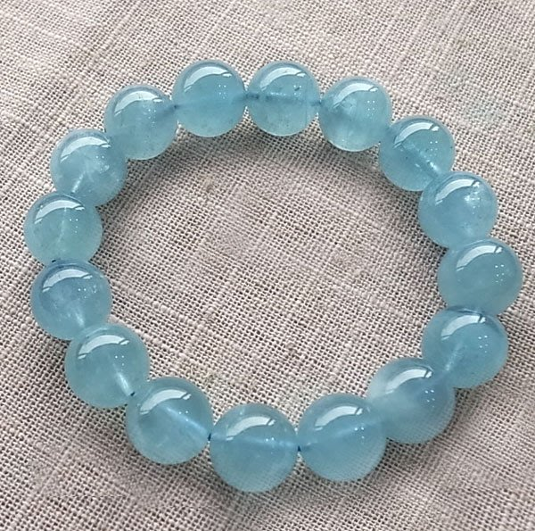 ☆采鑫天然寶石☆ **舒灆**頂級海水藍寶圓珠手鍊~微帶星光~13mm