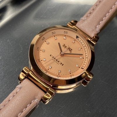 COACH蔻馳女錶,編號CH00007,30mm玫瑰金圓形精鋼錶殼,粉紅色鑽圈簡約錶面,粉紅真皮皮革錶帶款,表白好禮!