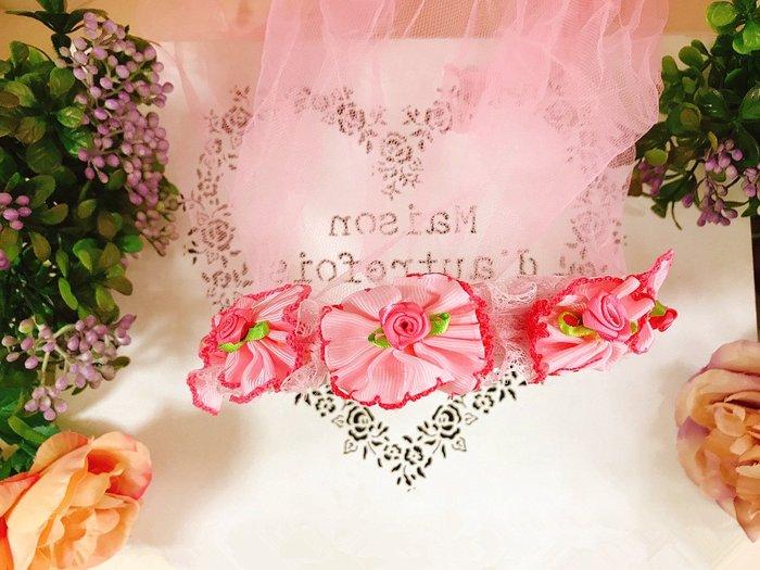 【華蕊】* E款粉紅大花髮箍頭紗 * 髮圈 小花童 公主頭紗 甜美 可愛 蕾絲 花環