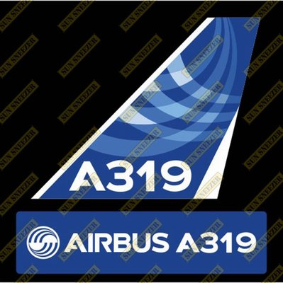 AIRBUS 空中巴士 A319 Logo 出廠塗裝 垂直尾翼 3M防水貼紙 尺寸上63x86mm 下 23x90mm