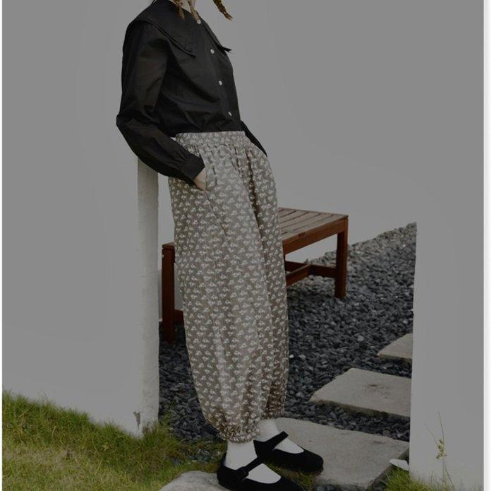 【鈷藍家】甜美個性原創印花燈籠褲休閑蘿蔔褲女秋季高腰寬松顯瘦束腳縮口褲