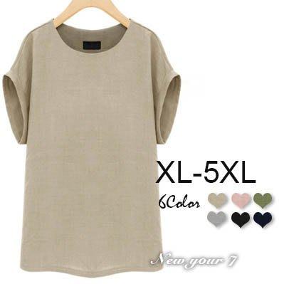 大尺碼 簡約寬鬆圓領亞麻短袖上衣 6色 XL -5XL【紐約七號】LG-366