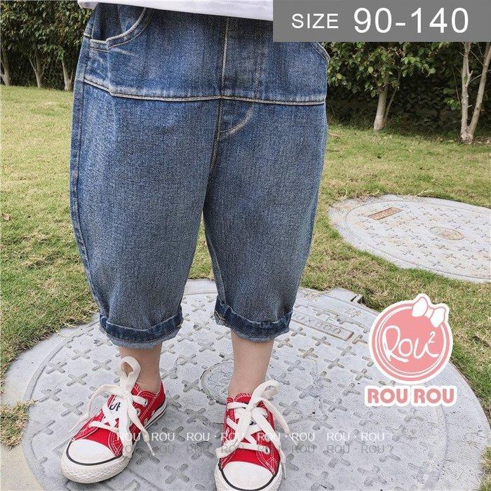 韓版男童牛仔褲。ROUROU童裝。夏男童中小童哈倫牛仔五分褲短褲 0122-407