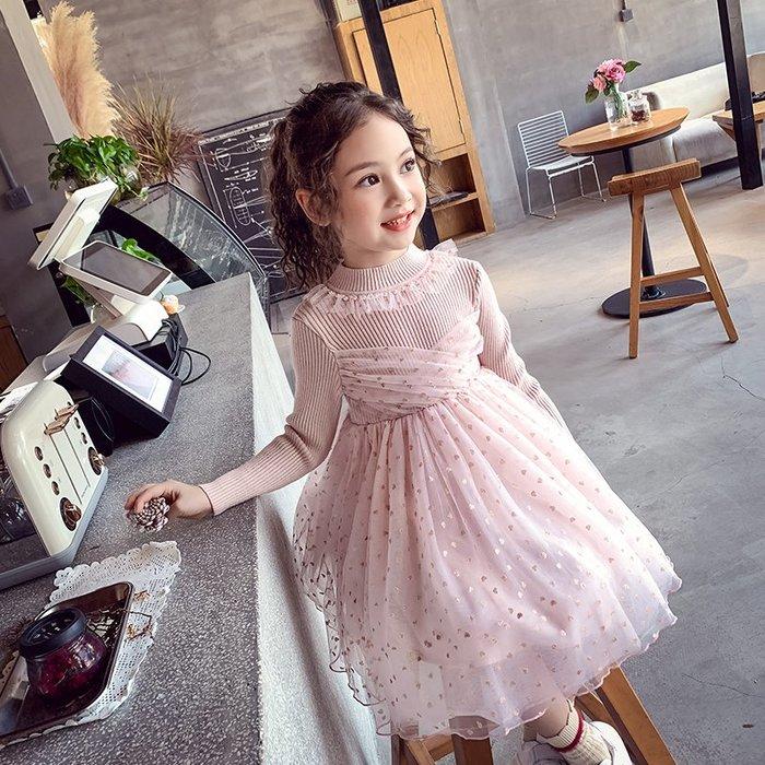 I ♥ MOM  2019新款# 女孩兒中大童韓國版針織毛衣網紗洋裝  (預購)