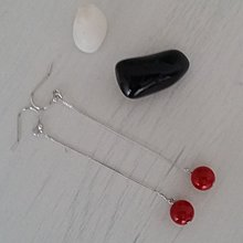 [原創設計]925純銀紅色貝殼珠長耳環
