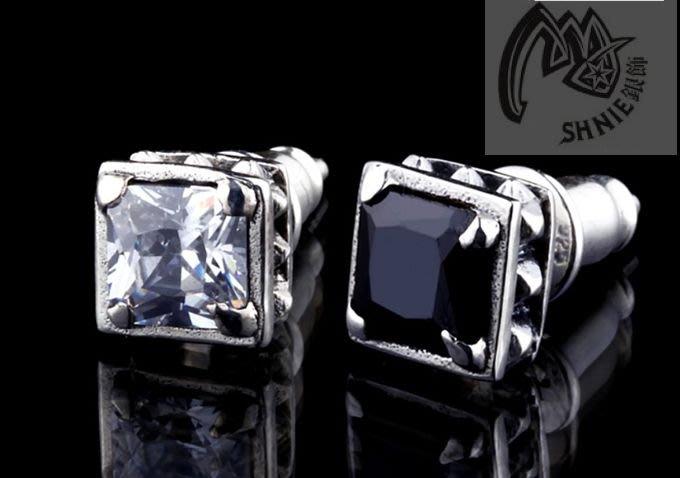 [SHINE-Silver ]  泰國進口!925純銀 經典鉚釘方晶 黑瑪瑙/水鑽 耳環/耳飾!/ 男女均可佩帶