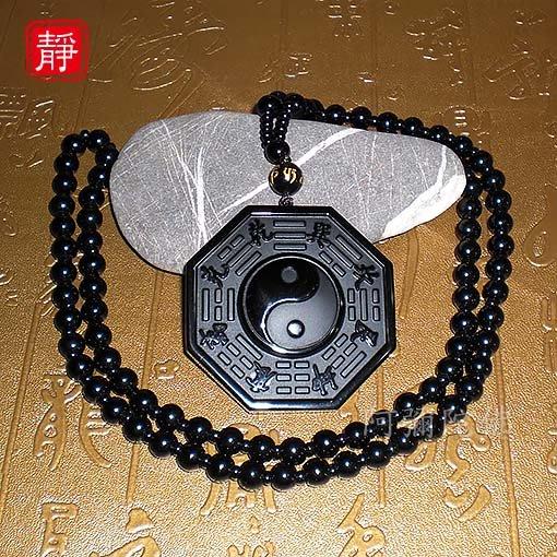 【靜心堂】黑曜石磨砂*八卦小號*佛珠--避邪平安(42*42mm)