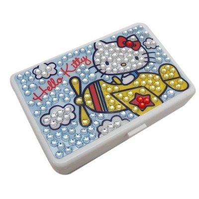 ~ 貨衝衝衝~13013000032 迷你四方盒附鏡-飛機彩鑽白三麗鷗 Hello Kitty 凱蒂貓 飾品盒 文具盒