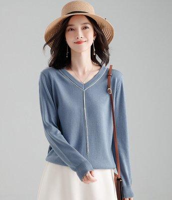 羊毛衣 (SDP8016) 實拍秋冬V領銀絲鏈羊毛針織衫 長袖毛衣