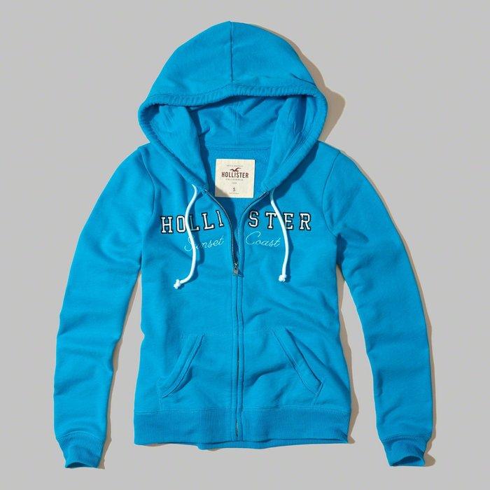 【HOLLISTER Co.】【HCO】HC女款棉質連帽外套藍框白小字亮藍 F07170614-23