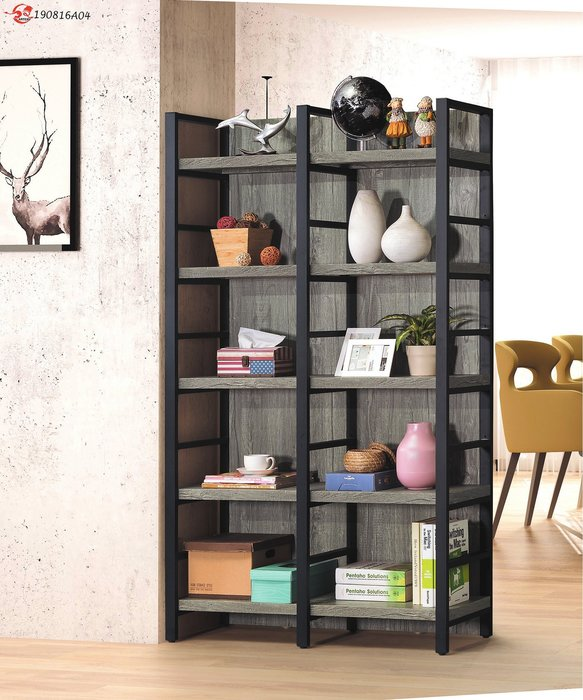 LOFT工業風辦公室鐵藝書架落地北歐書櫃(兩色可選)