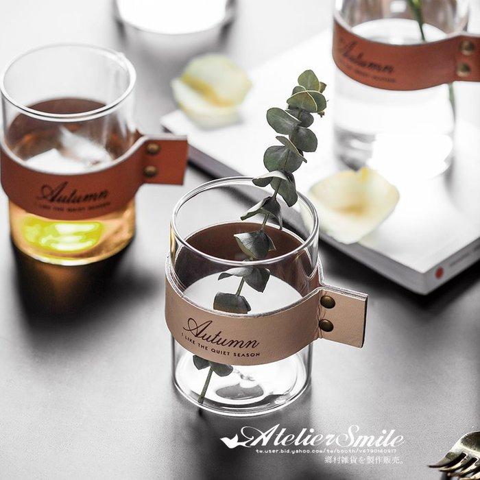 [ Atelier Smile ] 鄉村雜貨 北歐風 簡約皮革玻璃花瓶  透明花瓶 直筒花瓶 # 三件組 (現+預)
