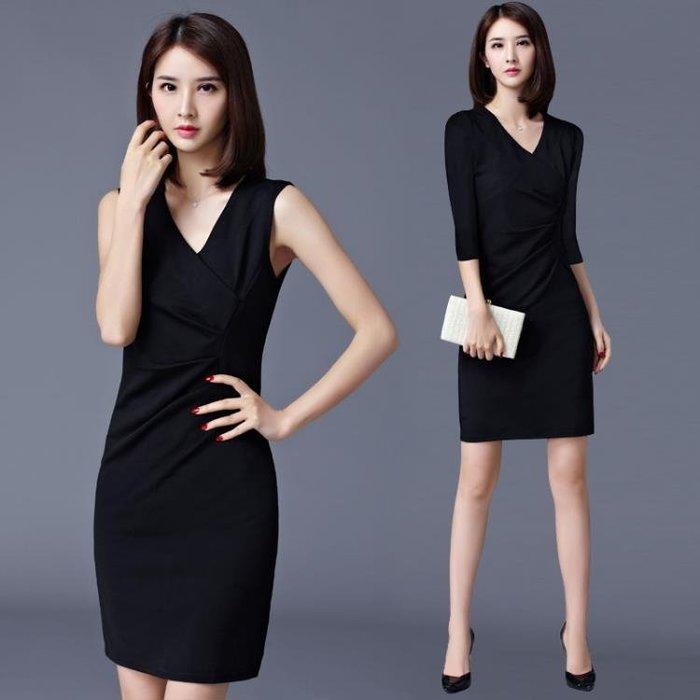 洋裝 無袖連身裙性感OL氣質V領抽褶修身包臀黑色一步裙