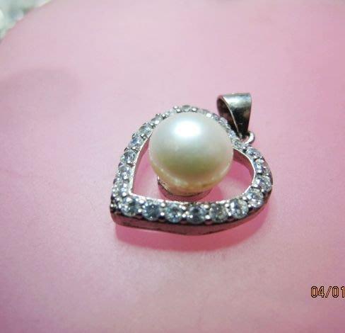 [庫存促銷品1折起拍賣]3A級9-10mm天然正圓珍珠925純銀墜