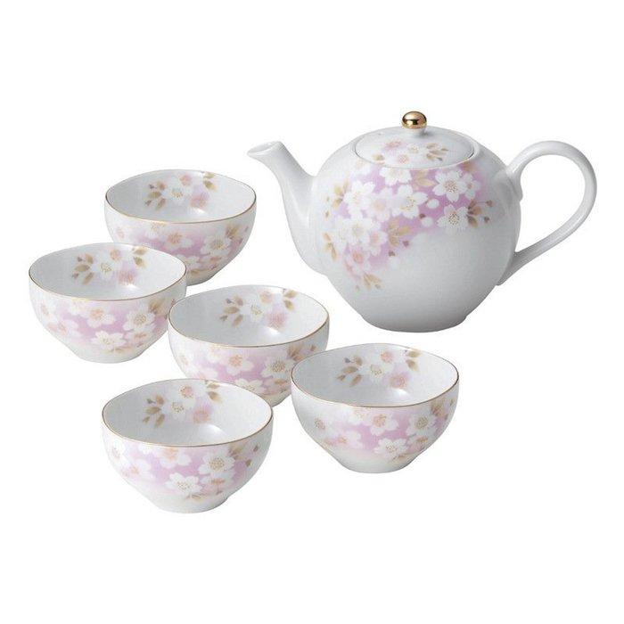 〖洋碼頭〗日本AITO宇野千代美濃燒陶瓷日和櫻茶壺茶杯6件套裝粉紅 L3067