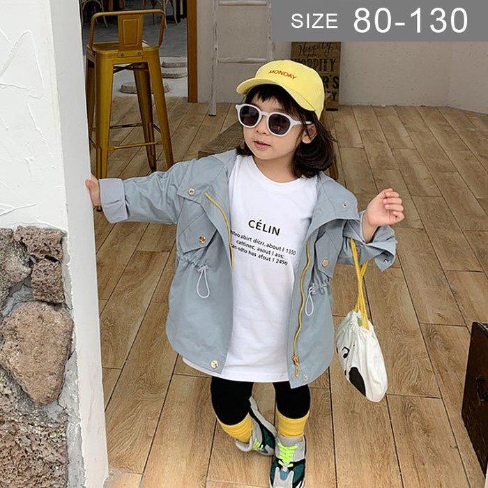 韓版男女童風衣外套。ROUROU童裝。春秋男女童連帽印花中長版風衣外套 0333-268