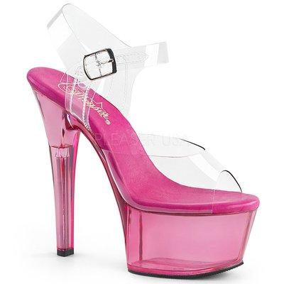 Shoes InStyle《六吋》美國品牌 PLEASER 原廠正品透明果凍色厚底高跟涼鞋  出清『紫紅色』