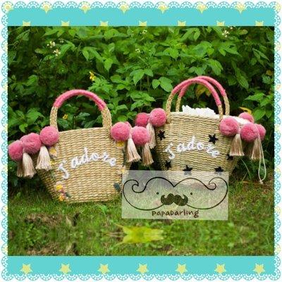 PapaDarling 17SS 泰國手工訂製設計師款毛球刺繡草編包 手提包