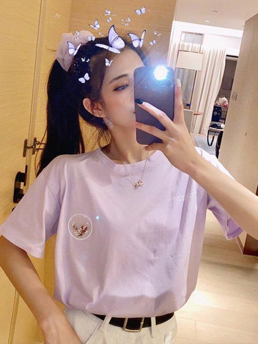 小香風 短袖T恤 時尚穿搭 甜美寬松百搭ins網紅減齡洋氣紫色打底短袖T恤上衣女