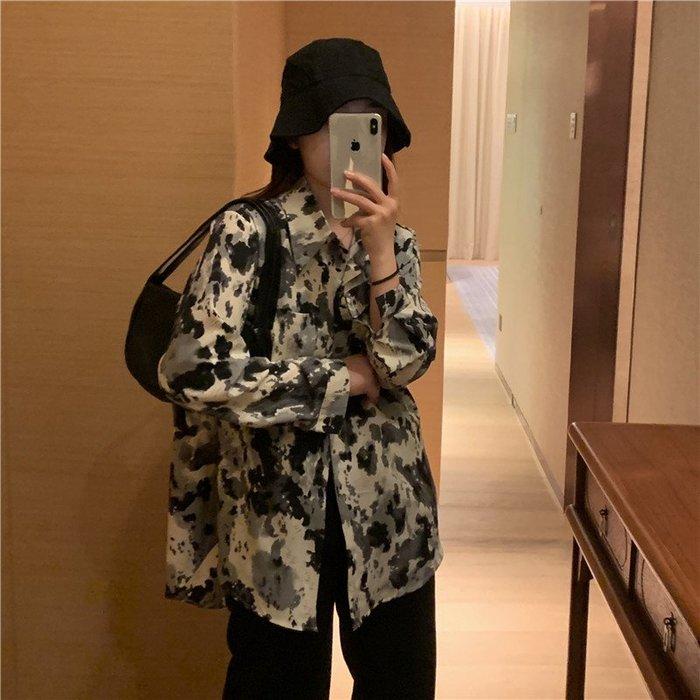 短袖雪紡衫 甜美 小香風 韓國東大門順滑質感水墨紋理襯衫女復古設計感小眾豹紋雪紡襯衣潮