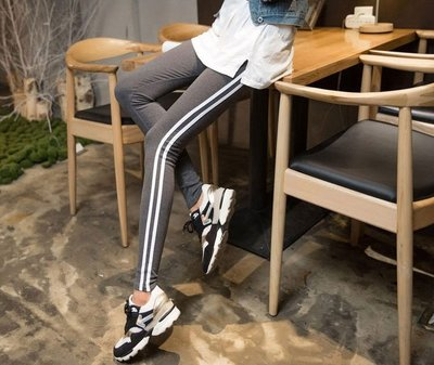 保暖細絨內搭褲 線條紋打底褲 黑灰二色 運動韻律瑜珈安全褲 九分韓版雙線 顯瘦修身鉛筆褲 復古束褲非莫代爾