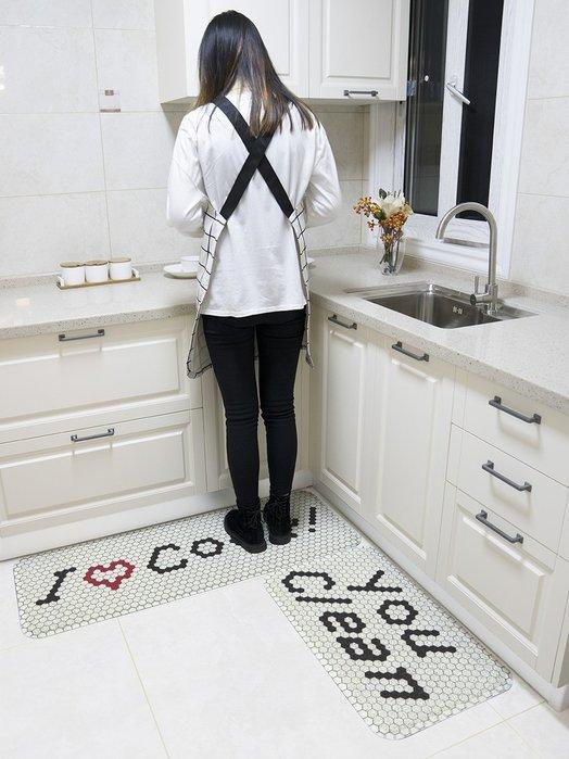 簡約馬賽克六邊形地墊絲圈防滑防水易清洗家用廚房長條腳墊