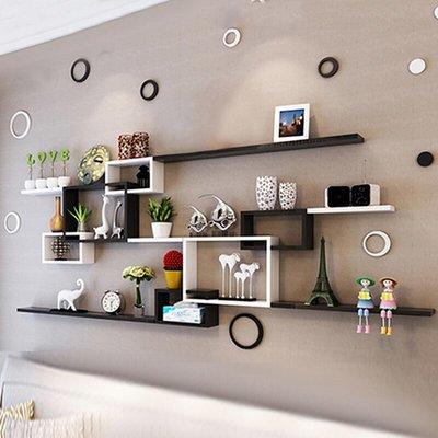 ins熱銷-墻上置物架客廳沙發影視背景墻裝飾架壁掛創意墻壁柜臥室墻面隔板#置物架#創意#墻壁置物架#裝飾