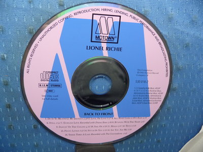 [無殼光碟]KL LIONEL RICHIE BACK TO FRONT  無ifpi  MADE IN GERMANY