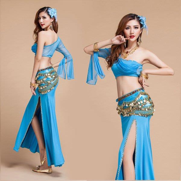 5Cgo【鴿樓】會員有優惠  40469452344 印度風印度舞單肩上衣蛋糕裙肚皮舞套裝印度服飾舞演出服套裝舞衣舞裙
