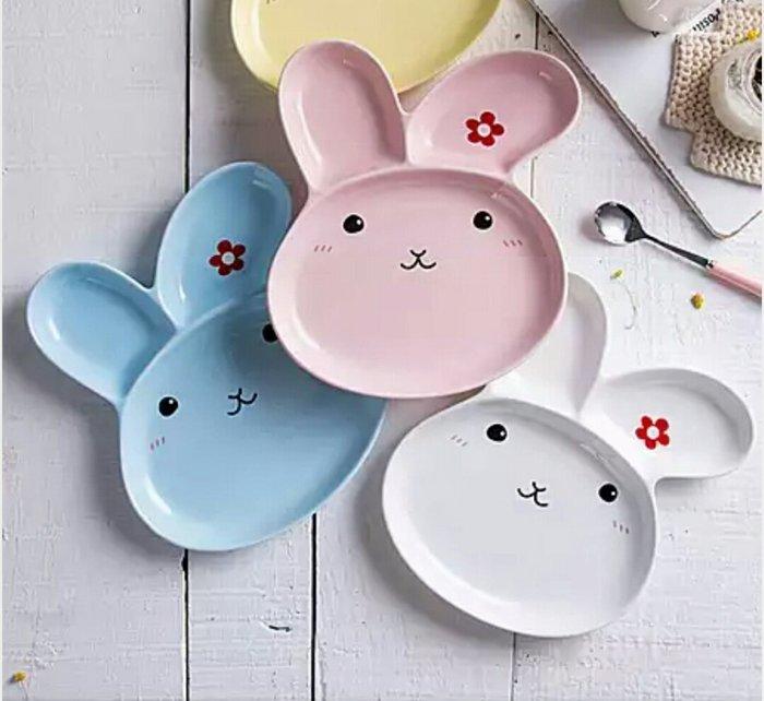 蘇菲亞精品傢飾~小花兔陶瓷分格盤【粉色/白色/藍色】