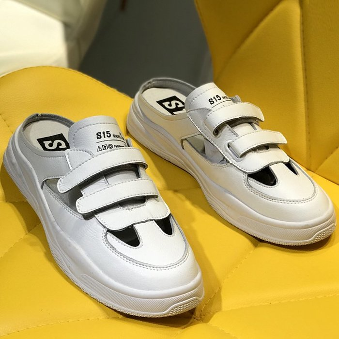 Fashion*鏤空真皮拖鞋 時尚魔術貼學生運動鞋 平底休閒半包拖鞋女