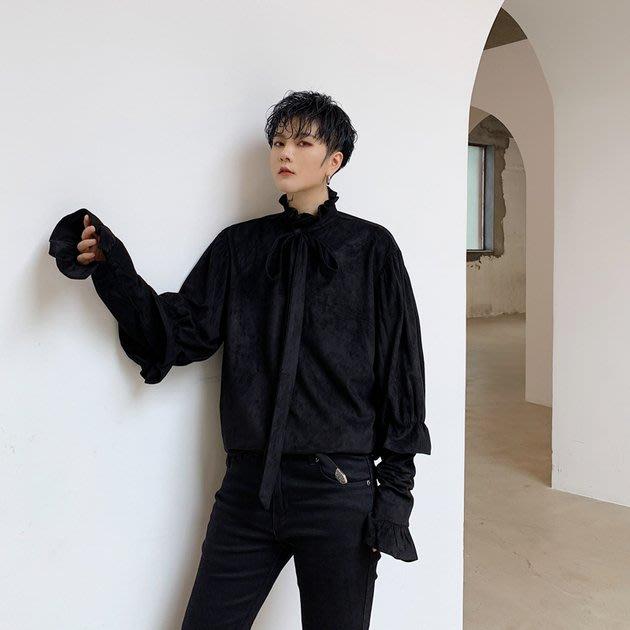 FINDSENSE 2019 秋冬上新 G19  黑色磨毛泡泡袖復古束袖口領結襯衫男裝百搭寬鬆休閒素面襯衫