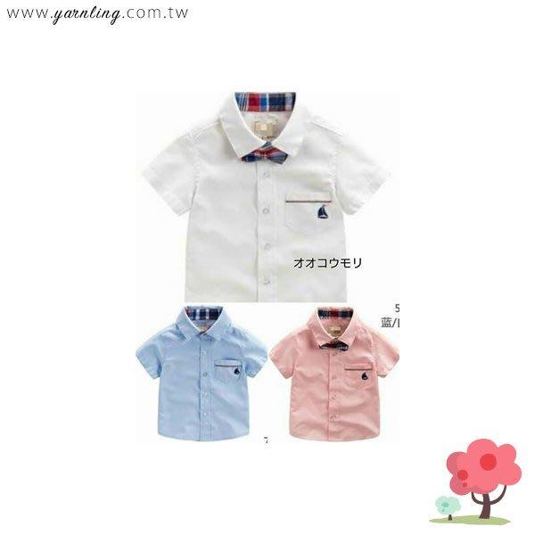 春夏。童裝。 紳士帆船口袋襯衫~白(5號)*勻伶流行館~貨號126756