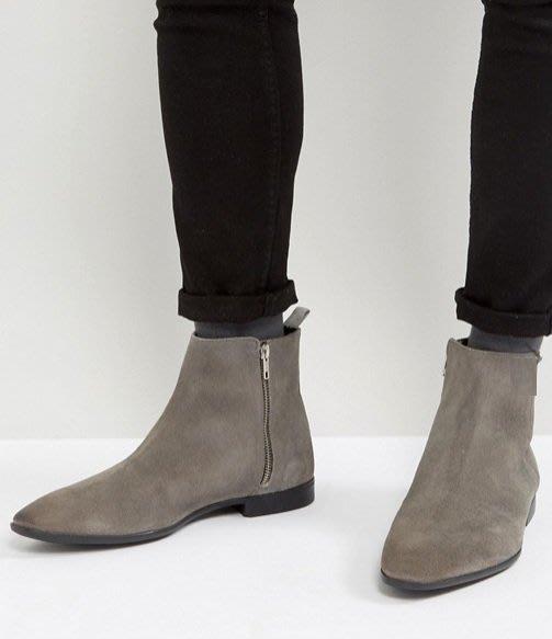 ◎美國代買◎ASOS側拉鏈設計尖圓楦頭英倫時尚雅痞風尖圓頭灰色拉鏈麂皮踝靴~歐美街風~大尺碼