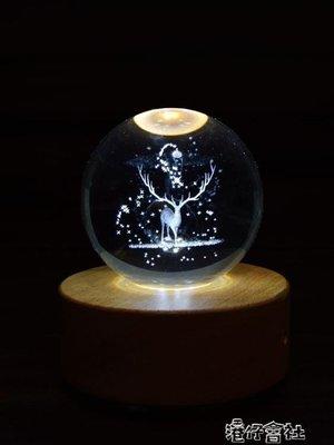 發光水晶球摩天輪音樂盒木質送男友女生情侶歐式藍芽創意生日禮物