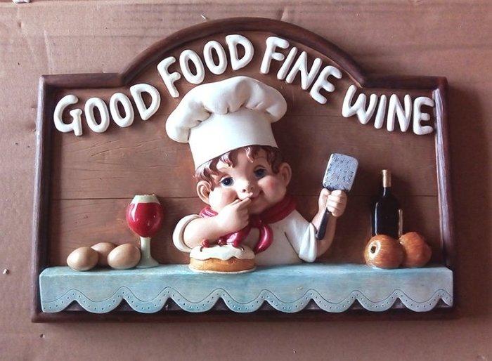 【浪漫349】5折出清 good food fine wine 小廚師 波麗材質 醇酒美食店家掛飾